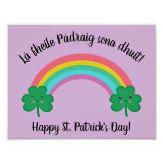 Irish St. Patrick's Day Poster with Rainbow
