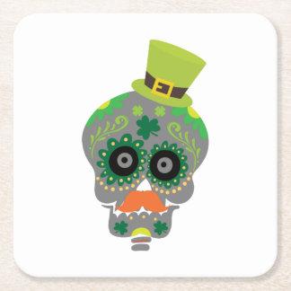 Irish Sugar Skull Funny St Patricks Day Square Paper Coaster