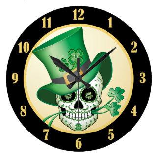 Irish Sugar Skull Large Clock