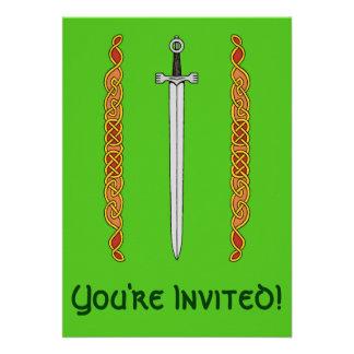 Irish Sword and Knotwork Invitations