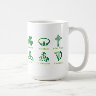 Irish symbols coffee mug, Irish Heritage, Celtic Coffee Mug