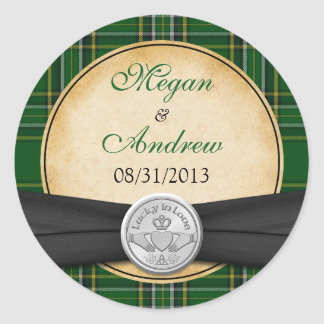 Irish Tartan Celtic Claddagh Lucky Wedding Round Sticker
