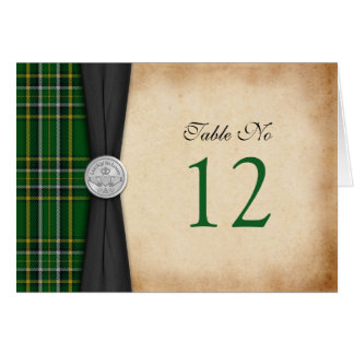 Irish Tartan Celtic Claddagh Wedding Table Card
