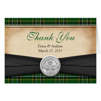 Irish Tartan Celtic Claddagh Wedding Thank You Card