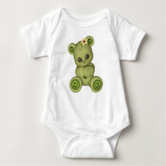 Irish Teddy Bear four leaf clover yellow green Baby Bodysuit
