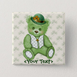 Irish Teddybear - Green 2 Inch Square Button