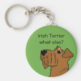 Irish Terrier - does else what? Basic Round Button Keychain