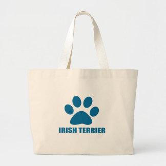 IRISH TERRIER DOG DESIGNS LARGE TOTE BAG