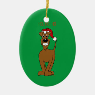 Irish Terrier Santa Ceramic Ornament