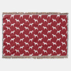 Irish Terrier Silhouettes Pattern Red Throw Blanket