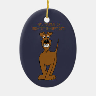 Irish Terrier Smile Ceramic Ornament