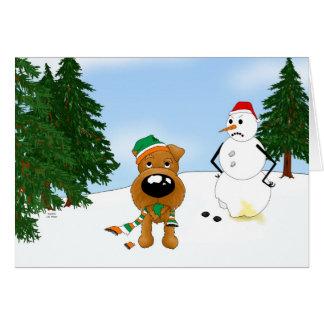 Irish Terrier Winter Scene Card