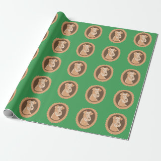 Irish Terriers Brown Cameos Green Wrapping Paper
