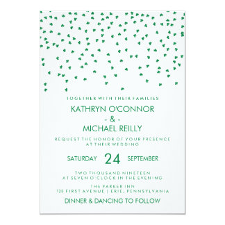 Irish Theme Wedding Shamrock Confetti on White Card