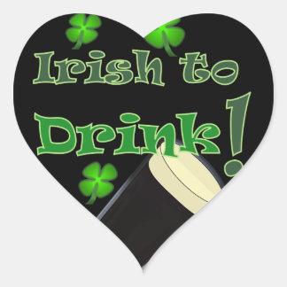 Irish to Drink - for St Patricks Heart Sticker