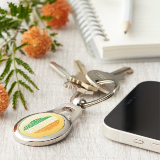 Irish touch fingerprint flag Silver-Colored oval keychain
