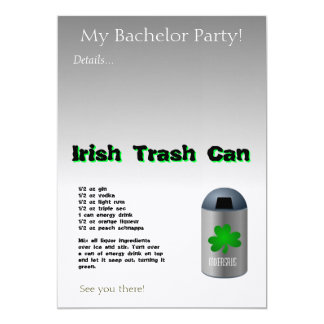 "Irish Trash Can Drink Recipe 5"" X 7"" Invitation Card"