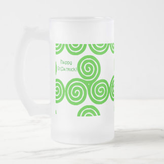Irish Triskel Happy St Patrick Frosted Mug