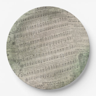 Irish Vintage Sheet Music, Wearing of the Green 9 Inch Paper Plate