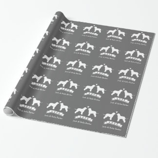 Irish Water Spaniel Silhouettes Couple with Text Wrapping Paper