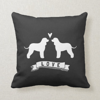 Irish Water Spaniel Silhouettes Love Throw Pillow