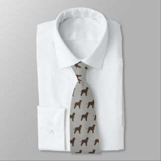 Irish Water Spaniel Silhouettes Pattern Tie