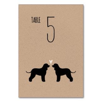 Irish Water Spaniel Silhouettes Wedding Table Card
