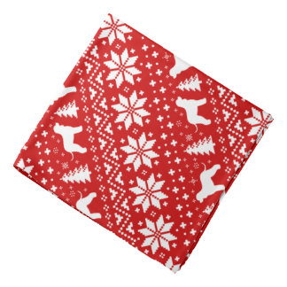 Irish Water Spaniels Christmas Pattern Red Bandana