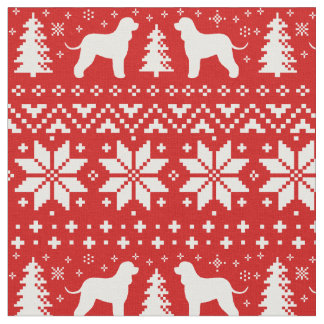 Irish Water Spaniels Christmas Pattern Red Fabric