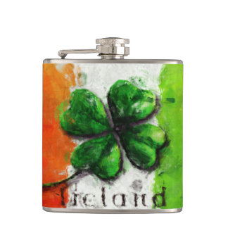 Irish Watercolor Ireland Clover/Flag Hip Flask