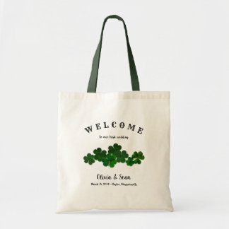 Irish Wedding Custom Welcome Bag Green Clovers