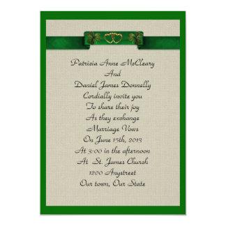 Irish wedding Invitation elegant shamrocks