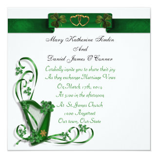 Irish Wedding invitation Harp shamrocks and ribbon
