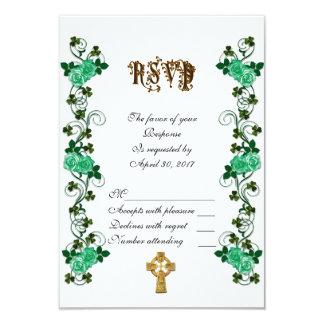 Irish wedding RSVP Celtic cross Card