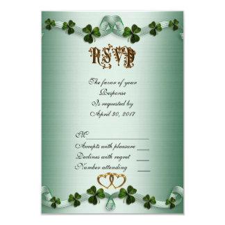 Irish wedding RSVP shamrocks Card