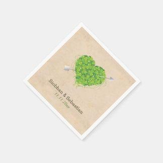 Irish Wedding Shamrock Heart Paper Napkin