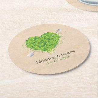 Irish Wedding Shamrock Heart Round Paper Coaster