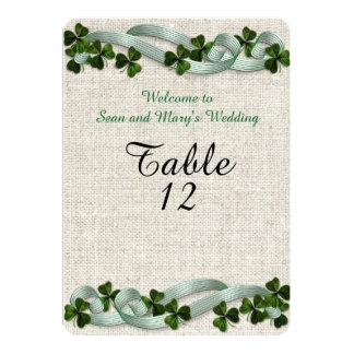Irish wedding table cards linen elegant