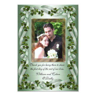 Irish wedding Thank you card shamrocks