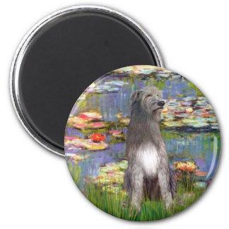 Irish WOlfhound 1 - Lilies 2 2 Inch Round Magnet