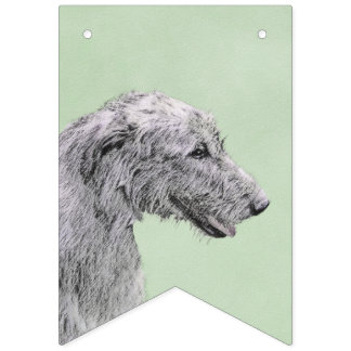 Irish Wolfhound 2 Painting - Cute Original Dog Art Bunting Flags