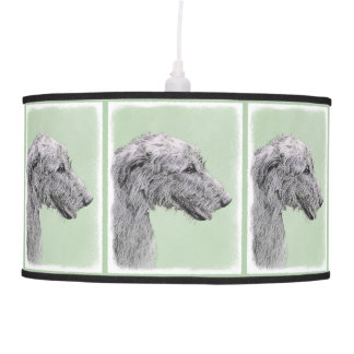 Irish Wolfhound 2 Painting - Cute Original Dog Art Pendant Lamp