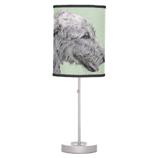 Irish Wolfhound 2 Painting - Cute Original Dog Art Table Lamp