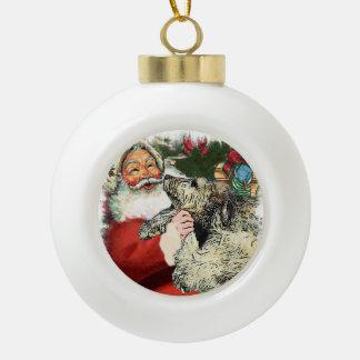 Irish Wolfhound Christmas Ceramic Ball Ornament