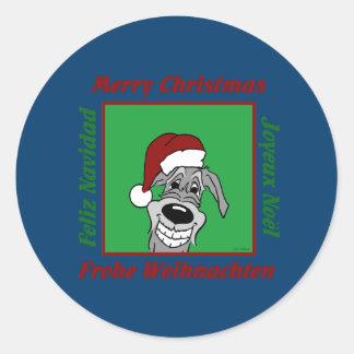 Irish Wolfhound Christmas Classic Round Sticker