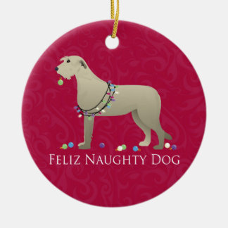 Irish Wolfhound Christmas Design Ceramic Ornament