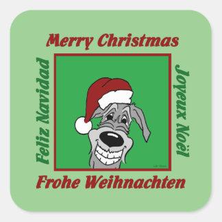 Irish Wolfhound Christmas Square Sticker