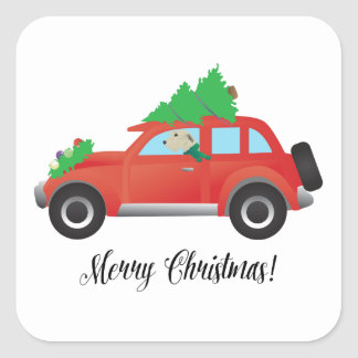 Irish Wolfhound driving Christmas Car Square Sticker
