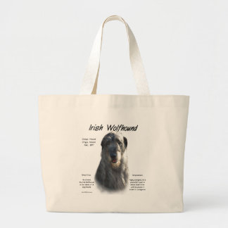 Irish Wolfhound (grey) History Design Large Tote Bag