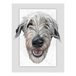 Irish wolfhound hand-drawn portrait postcard